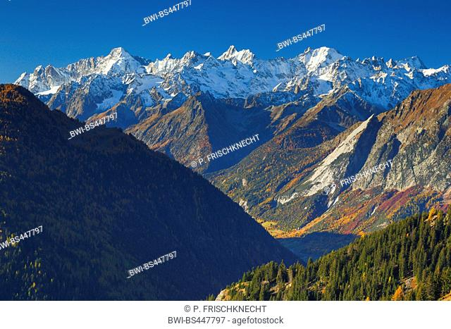 view from Verbier to Mont Dolent, Aguille d'Argentiere and Aguille Verte in autumn, Switzerland, Valais