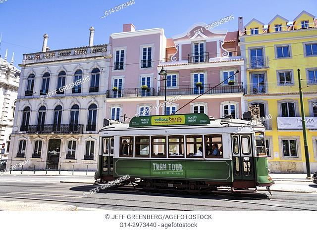 Portugal, Lisbon, Bairro Alto, Praca do Principe Real, plaza, square, vintage trolley, tram, historic district, residential apartment buildings
