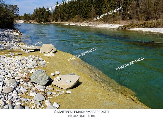 Clay at the riverbank, Isar, Nature Reserve Isarauen, Geretsried, Upper Bavaria, Bavaria, Germany