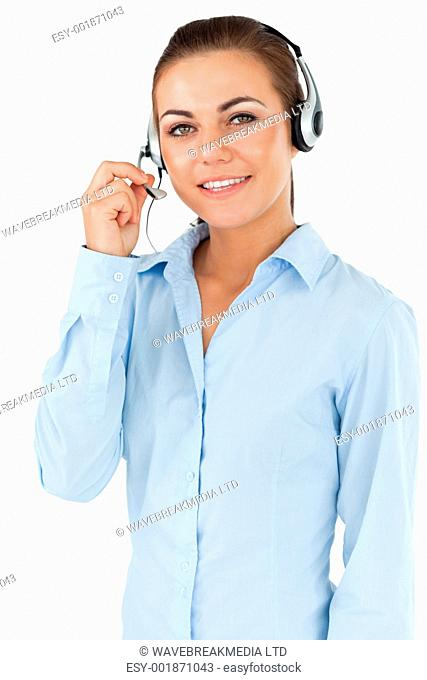 Female call center agent against a white background
