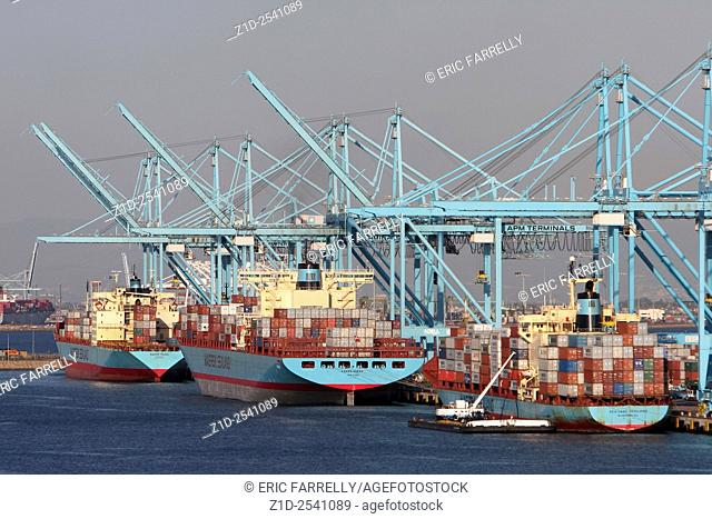 Busy Container berths at port of Los Angeles USA
