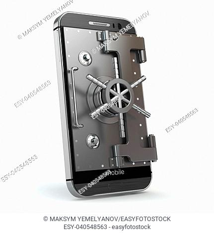 Mobile security concept. Smartphone or cellphone with vault or safe door. 3d