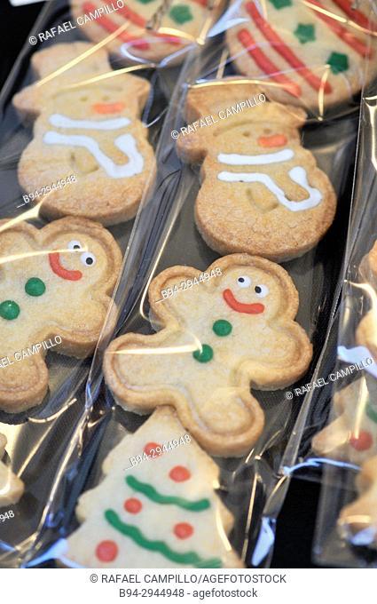 Christmas time. Cookies for sale shaped like a human doll. Sant Josep market, aka La Boqueria. Barcelona, Catalonia, Spain