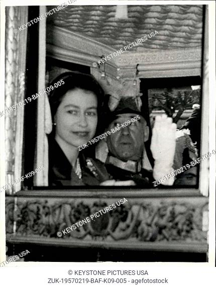 Feb. 19, 1957 - Queen on State Visit to Lisbon. Drives with President through streets. Photo shows H.M. The Queen with President Lopes drives through the...
