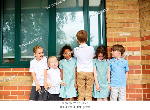 Schoolgirls and boys standing in a row outside primary school building, portrait