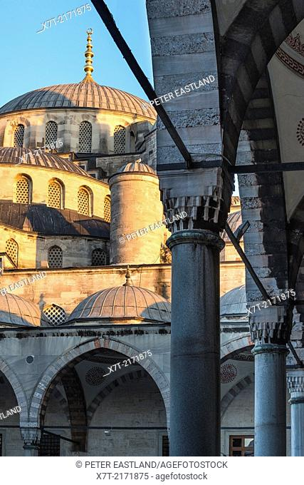 Domes and arches of the Blue Mosque, Sultanahmet, Istanbul, Turkey