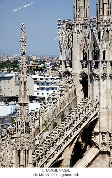 Flying Buttresses had an important architectural and decorative element in Gothic architecture. In the Milan Cathedral, on their upper side