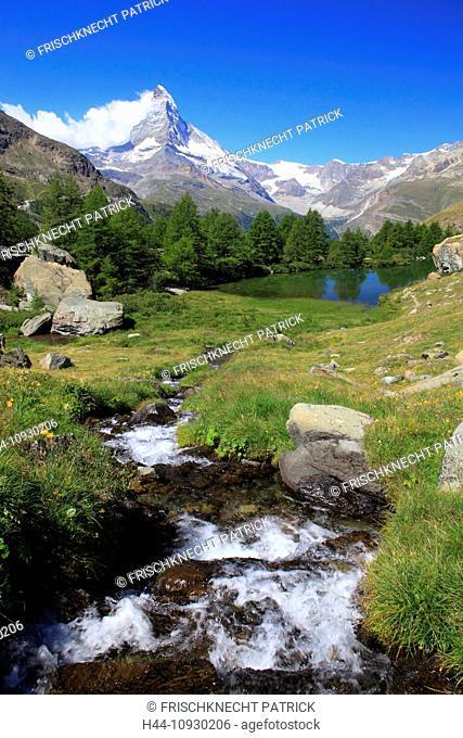 Alps, Alpine panorama, view, tree, mountain, mountains, panorama, mountain lake, trees, cliff, rock, summit, Grindjisee, scenery, Matterhorn, Mattertal, nature