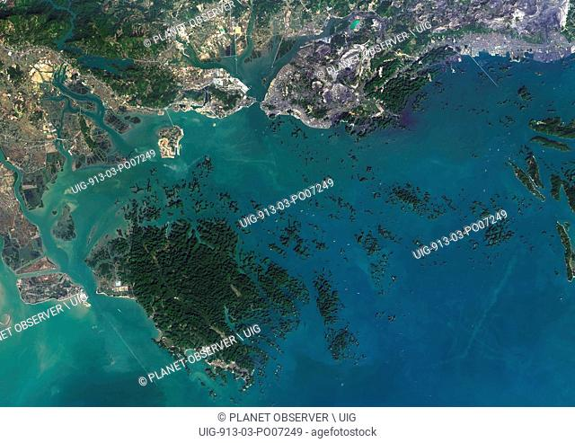 Satellite view of Ha Long Bay, Vietnam. Ha Long Bay is at center of a large area which includes Ha Long City to the north and Cat Ba Island to the southwest