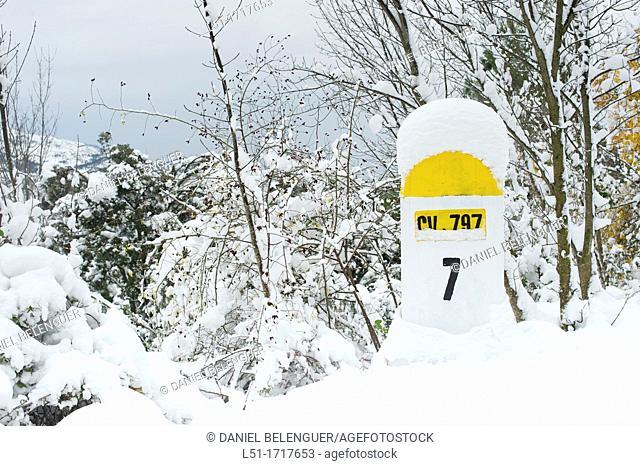 ign road after a snowfall,the Font Roja Nature Reserve, Alcoy, Alicante