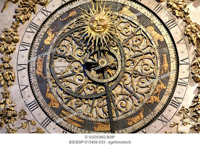 Hour dial. Astronomical clock of St. ohn. Lyon Cathedral. France