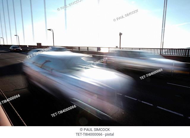 USA, California, San Francisco, Golden Gate Bridge, Cars in blurred motion
