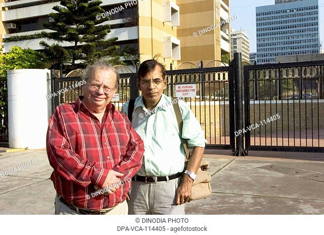 English Ruskin Bond  with photojournalist Pradeep chandra  ; Bombay Mumbai ; Maharashtra ; India NO MR