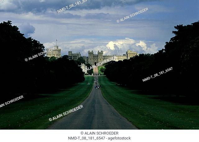 High angle view of a road leading to a castle, Windsor Castle, Berkshire, England