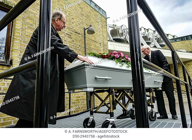 STOCKHOLM, SWEDEN Caket being rolled out of Uppenbarelsekyrka, after funeral