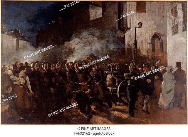 Firemen Running to a Fire by Courbet, Gustave (1819-1877)/Oil on canvas/Realism/1851/France/Petit Palais, Musée des Beaux-Arts de la Ville de...