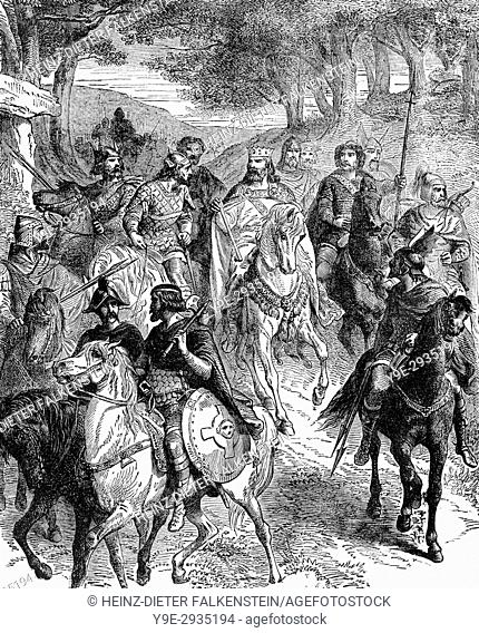 King Pepin the Younger and Frankish nobles riding to the council at Quierzy, 754