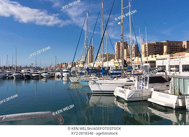 Fuengirola, Costa del Sol, Malaga Province, Andalusia, southern Spain. Yachts in Puerto Deportivo de Fuengirola. Fuengirola Sports Harbour