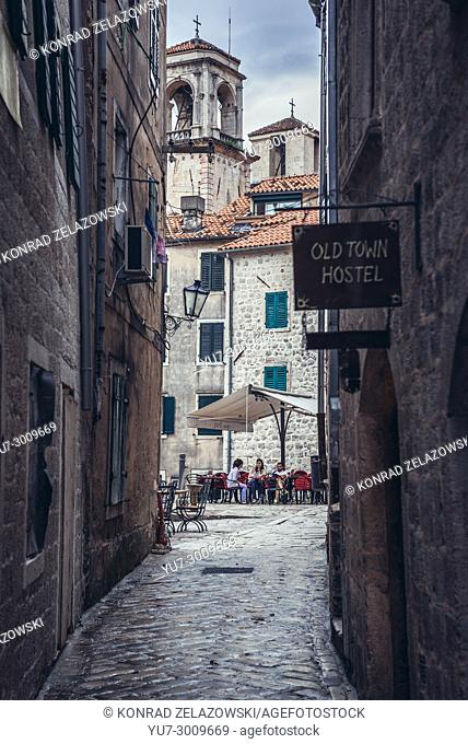 Old Town of Kotor coastal city, located in Bay of Kotor of Adriatic Sea, Montenegro. View with Cathedral of Saint Tryphon