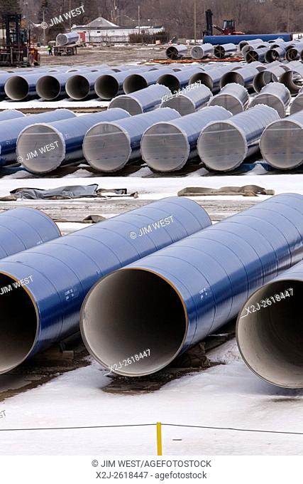 Flint, Michigan - Segments of pipe stored by the Karegnondi Water Authority for construction of a water pipeline for Flint and surrounding areas