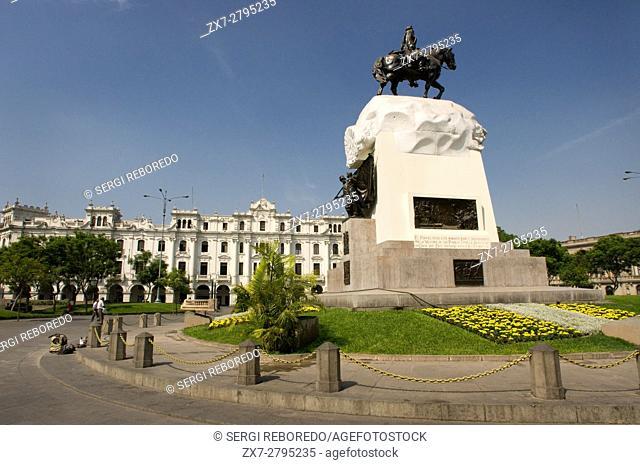 Plaza San Martin square with statue of Monument to José de San Martín, Lima, Peru