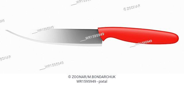 kitchen knife with red handle isolated on white