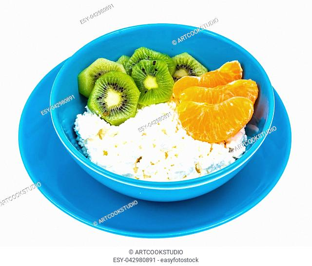 Delicious homemade cottage cheese with fruit. Studio Photo