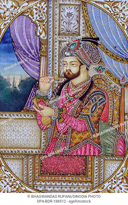 Miniature Painting of Mughul Emperor Shah Jahan India Asia