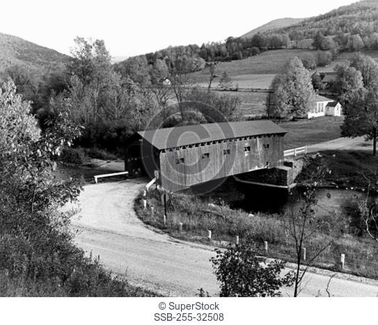 High angle view of a covered bridge across a river, West Arlington, Vermont, USA