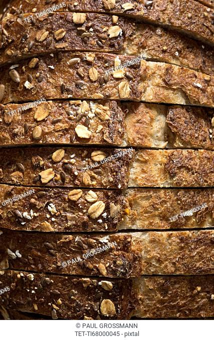 Close-up of sliced whole grain oat bread