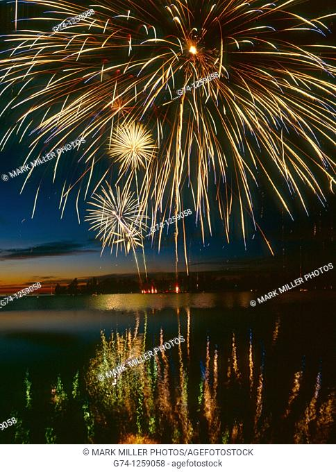 July 4th Celebration Fireworks at Copper Harbor on Lake Superiior Upper Peninsula Michigan USA