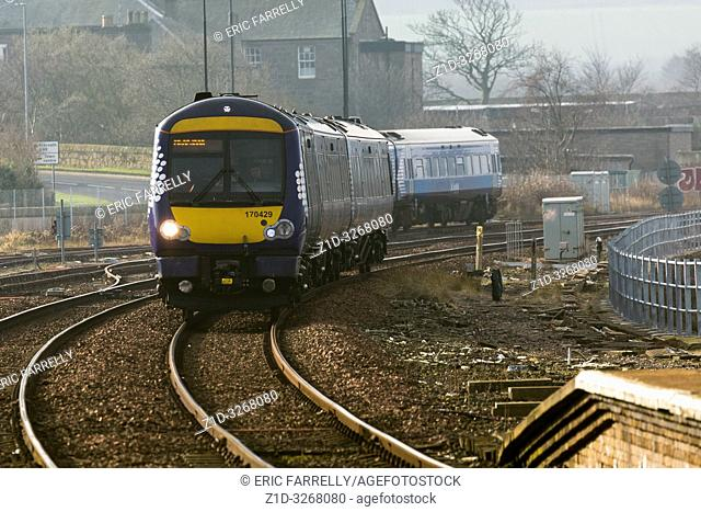 morning commuter train arriving Montrose Angus. Heading for Aberdeem. Scotland UK