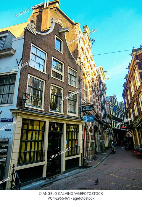Amsterdam city center with shops and restaurants , Amsterdam, Holland, Netherlands, Europe