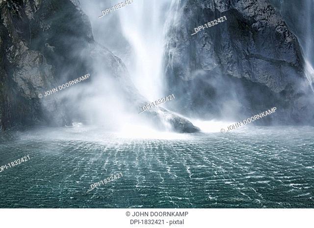Waterfall, Milford Sound, New Zealand