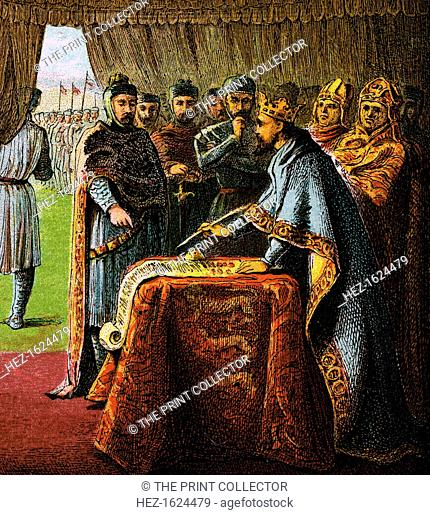 'King John And The Magna Carta', 1215, (c1850). Magna Carta is an English charter originally issued in 1215. Colour plate from Pictures of English History