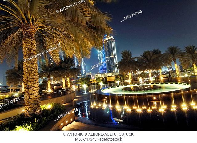 Fountain during the night at Marina walk promenade, Marina district, Dubai, UAE