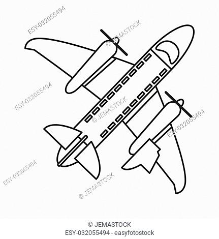 flat design flying airplane icon vector illustration line design