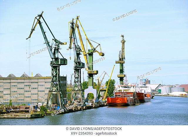 Gdansk Poland. Port dock facilities and warehouses of Stocznia Gdansk S.A. on south tip of Ostrow Island