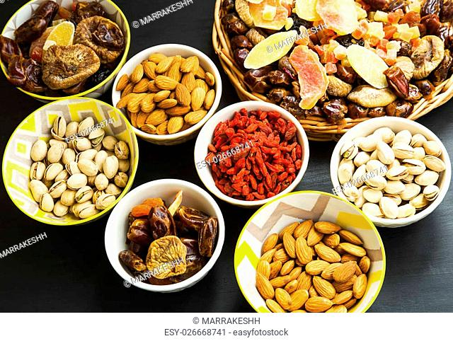Mix of dried fruits, candied fruits with pistachio and almond nuts