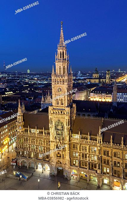 view from old Peter on the Old Town with new city hall, Munich, Upper Bavaria, Bavaria, Germany