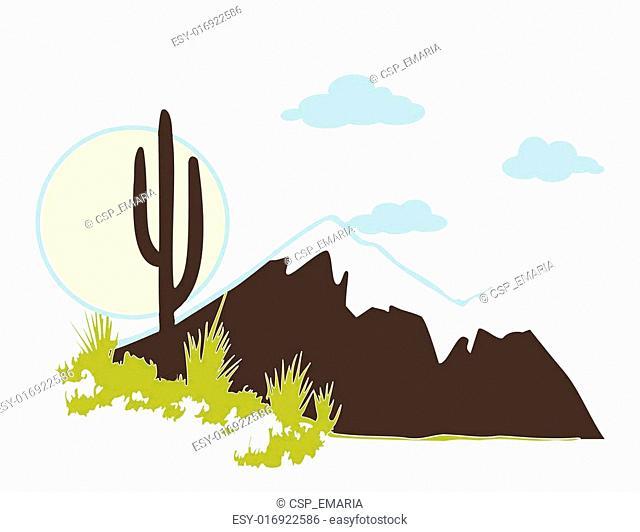 Cactus saguaro And Mountains. Vector