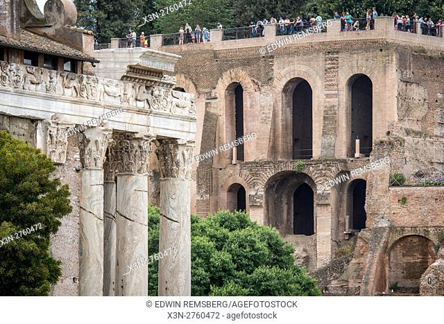 Rome, Italy- The ruins of the Roman Forum, the ancient social, political and commercial hub of the Roman Empire. This district was home to temples