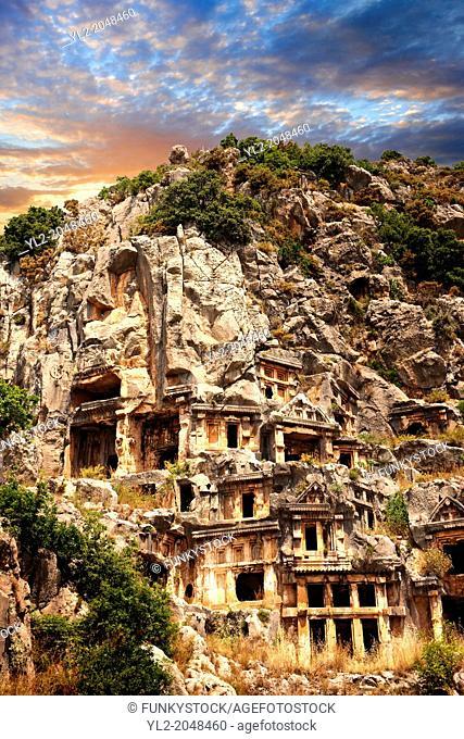 The ancient Lycian rock cut tombs town of Myra, Anatolia, Turkey