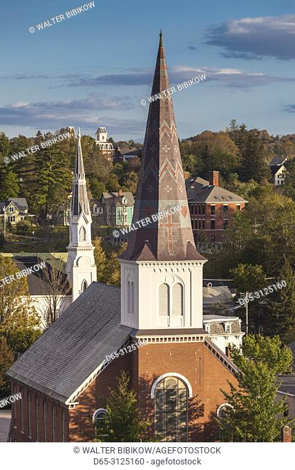 USA, New England, Vermont, Montpelier, elevated view of church steeples