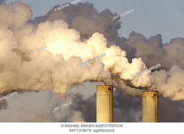 Smoke stacks of a coal fired power station, Frimmersdorf, North Rhine-Westphalia, Germany, Europe
