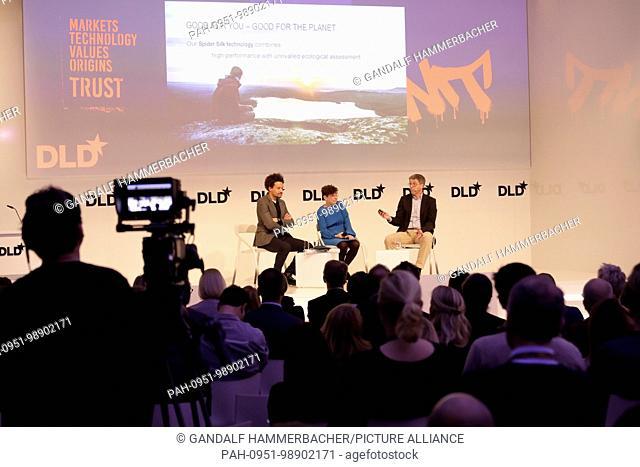 MUNICH/GERMANY - JANUARY, 21: (L-R) Oliver Heilmer (MINI), Jennifer Schenker (The Innovator), Thomas Scheibel (University of Bayreuth) in conversation at a...