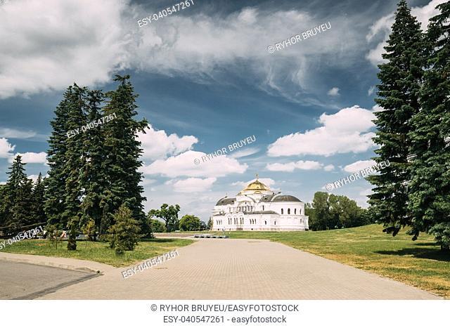 Brest, Belarus. Garrison Cathedral St. Nicholas Church In Memorial Complex Brest Hero Fortress In Sunny Summer Day