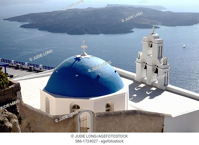Seaside White Church and Bell Tower, Blue Dome, Santorini, Greece Greek Islands