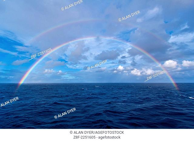 Double rainbowat sea over the Atlantic Ocean, the morning of the total eclipse of the Sun, Nov 3, 2013, from the Star Flyer sailing ship