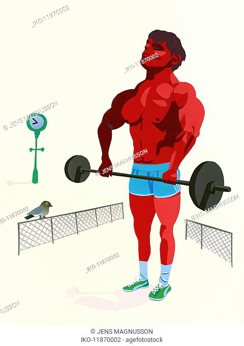 Bodybuilder lifting barbell